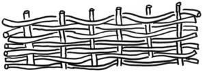 Piirroskuva punomsitekniikalla tehdystä kappaleesta.