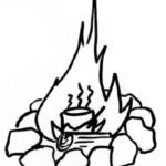Piirroskuva palavasta nuotiosta, jossa astia kuumenemassa.